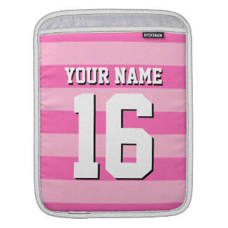 Pink Hot Pink Team Jersey Preppy Stripe Sleeve For iPads