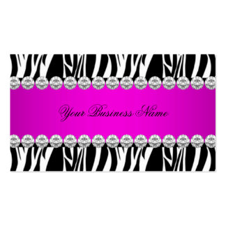 Pink Hot Pink Wild Zebra Black Diamond Look Image Business Card