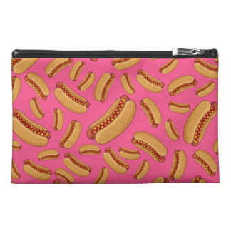 Pink hotdogs travel accessory bags