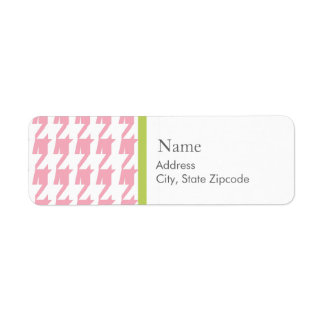 Pink Houndstooth   |  Address Label