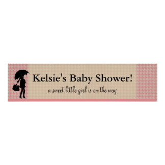 Pink Houndstooth Baby Shower : Banner Poster