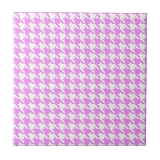 Pink Houndstooth Ceramic Tile