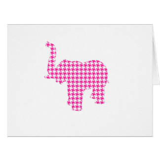 Pink Houndstooth Elephant Card