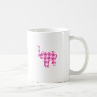 Pink Houndstooth Elephant Coffee Mug