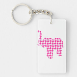 Pink Houndstooth Elephant Keychain