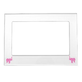 Pink Houndstooth Elephant Magnetic Frame