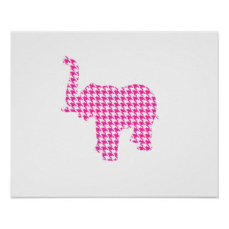 Pink Houndstooth Elephant Poster