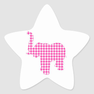 Pink Houndstooth Elephant Star Sticker