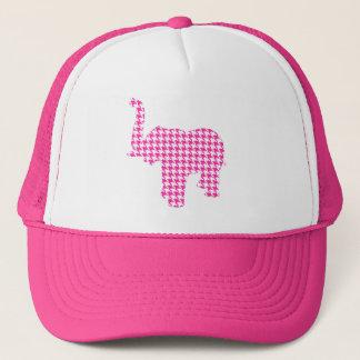 Pink Houndstooth Elephant Trucker Hat