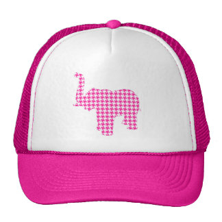Pink Houndstooth Elephant Trucker Hat