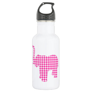 Pink Houndstooth Elephant Water Bottle