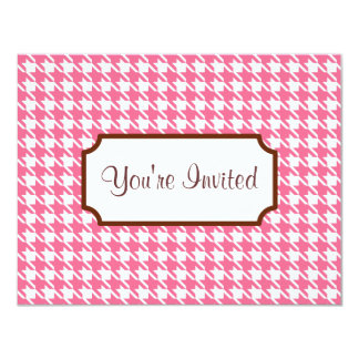 Pink Houndstooth Invitations