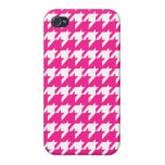 Pink  houndstooth iPhone 4 cases