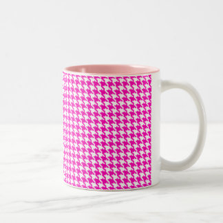Pink Houndstooth Pattern Two-Tone Coffee Mug