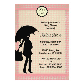 Pink Houndstooth Shower : Invitation