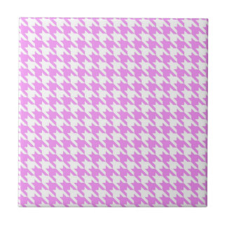 Pink Houndstooth Ceramic Tiles
