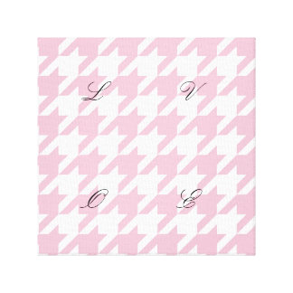 Pink,houndstooth,white,pattern,trendy,cute,girly, Canvas Print