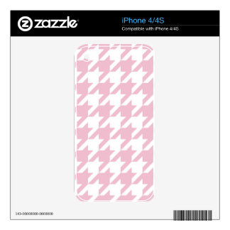 Pink,houndstooth,white,pattern,trendy,cute,girly, Decals For The iPhone 4