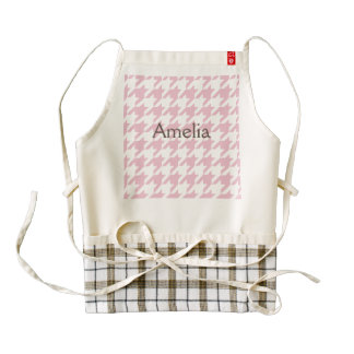 Pink,houndstooth,white,pattern,trendy,cute,girly, Zazzle HEART Apron