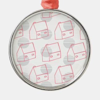 Pink House Metal Ornament