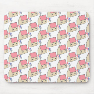 Pink house mouse pad