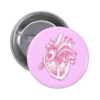 Pink Human Heart Buttons