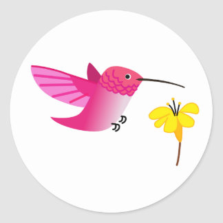 Pink hummingbird classic round sticker