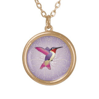Pink Hummingbird Gold Plated Necklace
