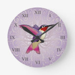 Pink Hummingbird Round Clock
