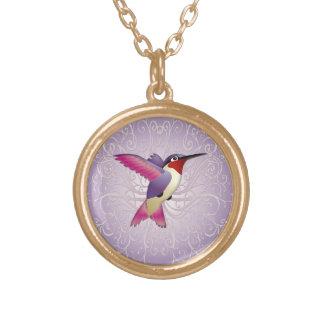 Pink Hummingbird Round Pendant Necklace