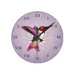 Pink Hummingbird Round Wall Clocks