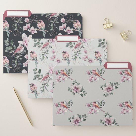 Pink Hummingbirds Pink Floral Pattern  File Folder