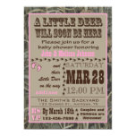 "Pink Hunting Camo Baby Shower Invitations 5"" X 7"" Invitation Card"
