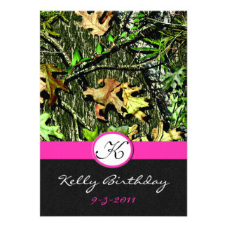 Pink Hunting Camo Birthday Party Invitations