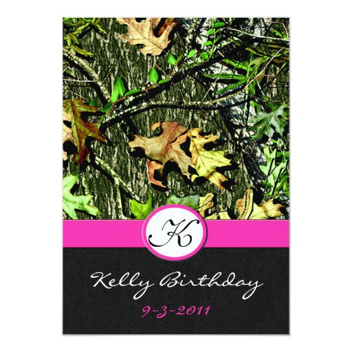 Pink hunting camo birthday party invitations zazzle for Pink camo decorations