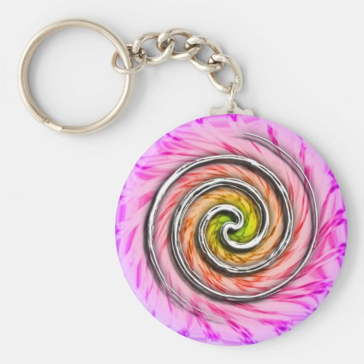 Pink Hurricane Swirls Basic Round Button Keychain