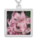 Pink Hyacinth Beautiful Spring Flower Silver Plated Necklace