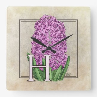 Pink Hyacinth Flora Monogram Square Wall Clock