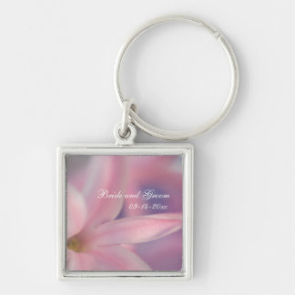 Pink Hyacinth Flowers Wedding Silver-Colored Square Keychain