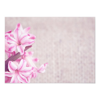 Pink Hyacinth on White Knit Card