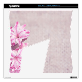 Pink Hyacinth on White Knit Decals For Xbox 360 S