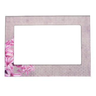 Pink Hyacinth on White Knit Magnetic Frame