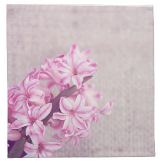 Pink Hyacinth on White Knit Napkin