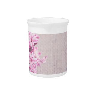 Pink Hyacinth on White Knit Pitcher