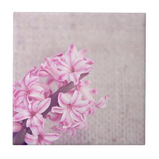 Pink Hyacinth on White Knit Tile