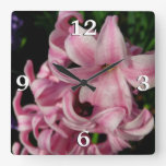 Pink Hyacinth Pretty Spring Flower Square Wall Clock
