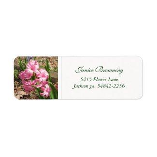 Pink Hyacinths : Address Label