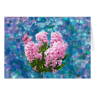 Pink Hyacinths on Blue Mosaic  Easter Card
