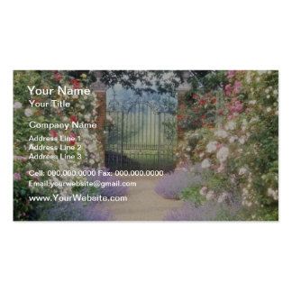 Pink Hybrid Rose-Lined Path To Gate, Underplanted Business Card