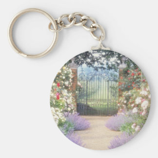 Pink Hybrid Rose-Lined Path To Gate, Underplanted Keychain